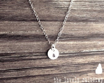 "Tiny Customized Sterling Silver Necklace - Hand Stamped Initial 1/4"" disc Long Necklace - Layer - Gift for Girlfriend - Wife - Sister - Love"