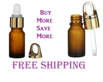 10 mL Glass Dropper Bottles in Frosted Coffee with Gold Plated Lid Amber Fancy Make Up Bottle Cosmetic Essential Oils Serum Sexy Design