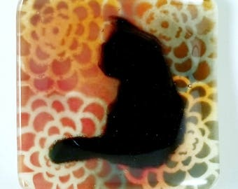 Cat with Zinnia Pastel Flower Garden Square Fused Glass Spoon Rest Ring Holder Catch All Dish