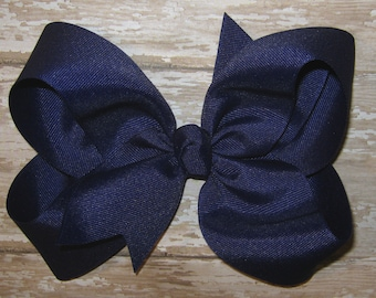Large 6 inch Grosgrain Hair Bow in Light Navy Blue Big Girls Boutique Style Hairbow