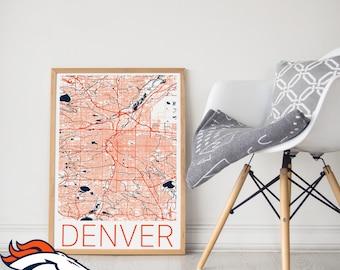 Denver Broncos / Denver Bronco Poster / Denver Broncos Memorabilia / Denver Broncos Map / Denver Broncos Art/ Denver Map