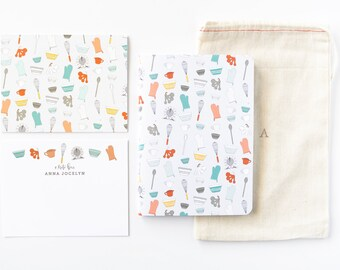 Personalized Stationery Set   Illustrated Baker's Stationery Gift Set with Custom Flat Cards, Journal, and Notecards : Baker's Notes