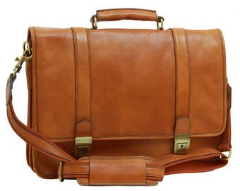 Leather Briefcase/Business Bag/Handmade Briefcase/Italian Leather/Made In Italy - SKU: 309G