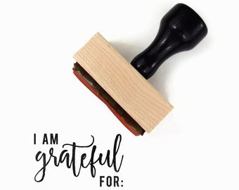 Rubber Stamp I am Grateful For   Thanksgiving Fall Harvest Festival Family Craft DIY   Wood Mounted Stamp by Creatiate