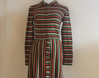 Vintage Handmade STRIPED Sweater Dress Size Small