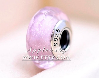 Pink Shimmer Faceted Murano Glass Beads Charm Fit Bracelets Beading DIY Jewelry Making Fashion Accessories S925 Sterling Silver Core