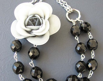 Statement Necklace Black Necklace Resin Flower Jewelry Beaded Necklace Black Jewelry Bib Necklace
