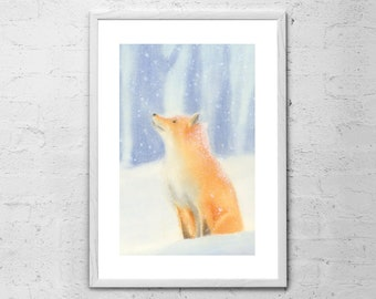 Fox In The Snow Watercolor - Fox Art Print - Watercolor Print - Baby Gift - Fox Poster - Kids Print - Fox Painting - Woodland Nursery Decor