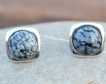 Obsidian silver stud earrings, Snowflake obsidian stud earrings, Obsidian sterling silver stud earrings, Obsidian 925 silver stud earrings.