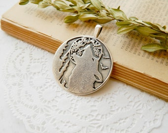 Travel gift Outdoors gift Sterling silver necklace Howling Wolf necklace Howling Wolf jewelry wolf pendant Sterling Silver jewelry moon tree