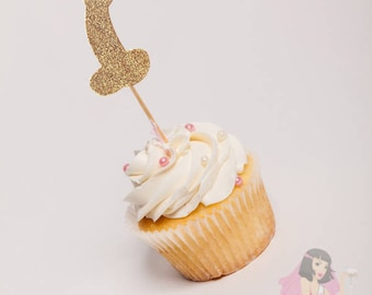 Hens Night Bachelorette Cupcake Toppers Pecker Willy Gold