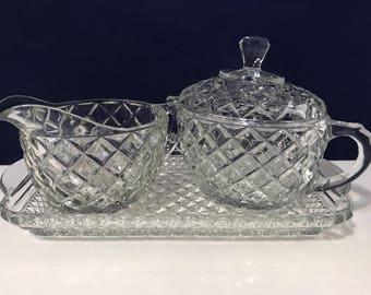 Vintage Glass Diamond Pattern Sugar Creamer w/Glass Tray 3 pc Set Holiday SALE Price