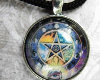 Wiccan Multi Colored Moon Phase Pentacle P2 Pentagram Glass Necklace Pagan