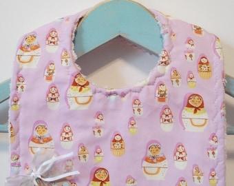 Matryoshka Dolls in Lavender - Minky Baby Bib