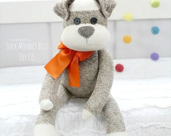 "The Original Sock Puppy Dog, 18"" Sock Monkey Doll, Handmade Children's Dolls"