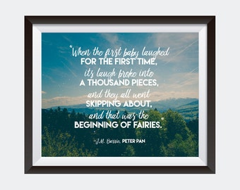 PRINTABLE art | Beginning of Fairies | Nursery Decor | J.M. Barrie | Peter Pan Quote | Wall Art
