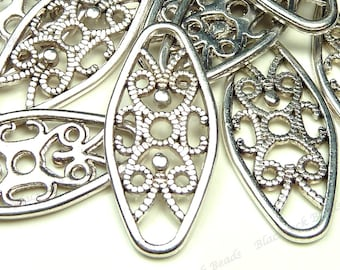 24x11mm Antique Silver Tone Textured Oval Metal Links - 10pcs - Jewelry Supplies, Findings, Components, Connectors - BH21