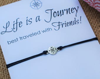 Wanderlust Friendship Bracelet Compass Bracelet Gift for Him Best Friend Bracelet Life is a Journey Bracelet Wishing Bracelet Travel Gift