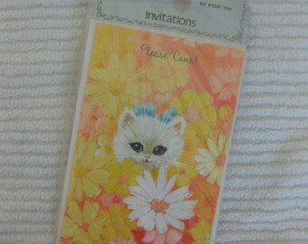 A Package of Six Rust Craft Wide-Eyed Kitty Invitations