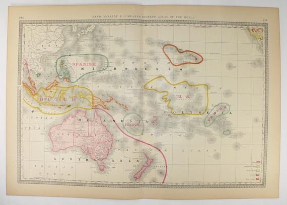 Vintage Map Oceania 1881 Rand McNally Oceania Map Australia
