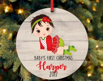 Baby's Girl First Christmas Ornament, Personalized Christmas Ornament, Custom Ornament, Black Hair Baby Girl Christmas Ornament (0068)