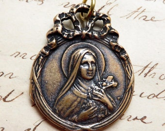 Bronze St Therese of Lisieux Medal - The Little Flower - Antique Reproduction
