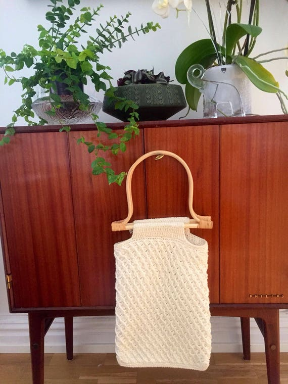 Boho bag crochet wicker handle/ market bag light cream handbag macrame