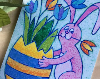 Easter Bunny with Easter Egg Flower Pot, Easter Greeting Card
