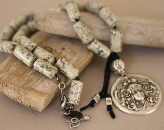Antiqued Silver Woman Pendant Gemstone Barrel Necklace,  Art Nouveau Pendant Necklace, Leather Accented Necklace, Big and Bold