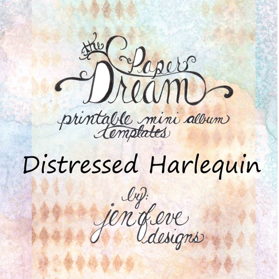 The Paper Dream Printable Mini Album Templates in Distressed Harlequin and Plain