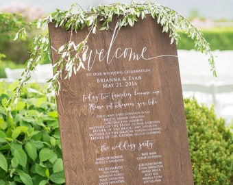 Wedding Program Sign | Wood Wedding Program | Rustic Wedding Signs | Wedding Party Sign | Wooden Wedding Signs | Wedding Decor - WS-176