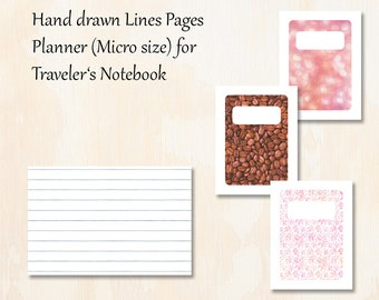 Micro TN   3 covers   Hand drawn Lines Pages Planner for Traveler's Notebook   Planner Insert