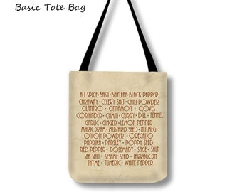 Herbs & Spices-Tote Bag-List of Spices-Cross Body Tote-Weekend Bag-Large Tote Bag-Canvas Shopping Tote-Shoulder Tote Bag-Basil/Garlic-Cumin