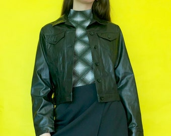 Vintage 90s 2000s Black Pleather Collared Button Down Goth Jacket