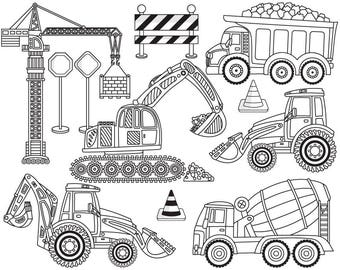 Construction Clipart - Vector Construction Clipart, Crane Clipart, Truck Clipart, Black and White Construction Clip Art