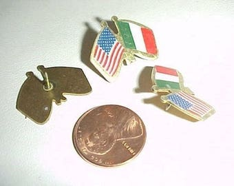 6 VINTAGE USA and ITALIAN flags stick pin findings l572