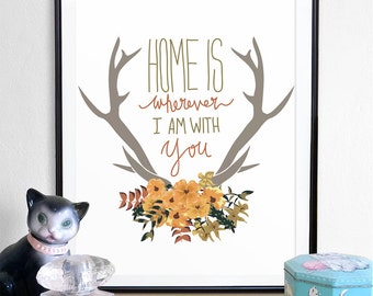 anter print, antlet poster, home quote, home is, floral print, home decor, wall decor, home is where, the heart is, home sweet home, homes