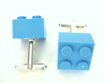 Cufflinks handmade with LEGO(r) bricks in Light Blue, Cufflinks for weddings, office, grooms - Silver Plated