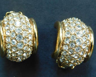 Vintage Rhinestone Pave Clip On Earrings