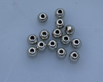 6mm Antique Silvertone Base Metal round Spacer Beads (14)