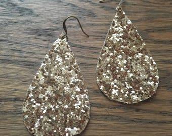 Glitter Gold Teardrop Earrings Faux Leather - Sparkly Gold Faux Leather Earrings