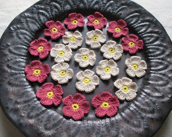 20 Handmade small cotton crochet flower with 2 colors for decorating your craft.