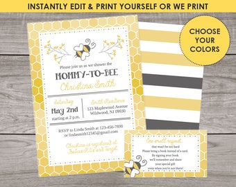 Bee Baby Shower Invitation - Digital File or We Print Using Templett - Bumble bee - Printable File, gender neutral, spring 241