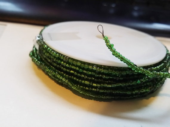 4 yards of beaded wire green glass seed beads beaded wire spool craft jewelry supplies