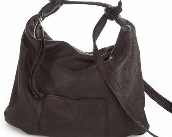 Delta Surf - a Big Crossbody, Shoulder Bag, Messenger - Black Elk Leather with an Adjustable Straps, Zipper  and Front Pocket