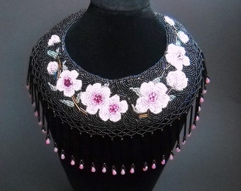 SALE 15% OFF Sale 25 Percent Off - Bead Embroidery Pink Black Bead Embroidered Necklace Sakura -Cherry Blossoms Bead Embroidery Art N