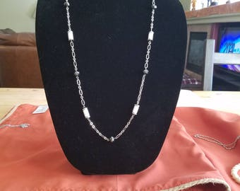 Black and white beaded silver necklace