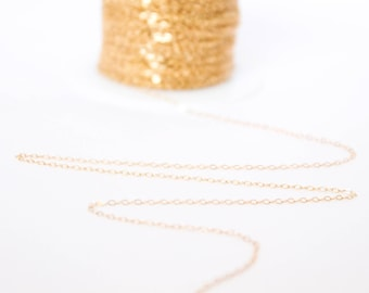 14k Gold Filled Chain by the Foot - 1.5mm Flat Cable Chain - Thin Chain - Gold Chain - Wholesale Chain - Custom Length / GF-CH009