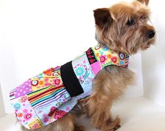 Summer Dog Dress, XS S M Floral Patchwork Spring or Summer dress for dogs, lightweight cotton dog dress, fashion dog clothes