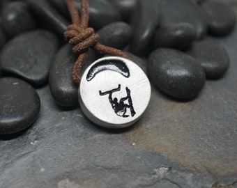 Kiteboarding Surfer Necklace Kitesurfing jewelry pewter pendant made by Zulasurfing